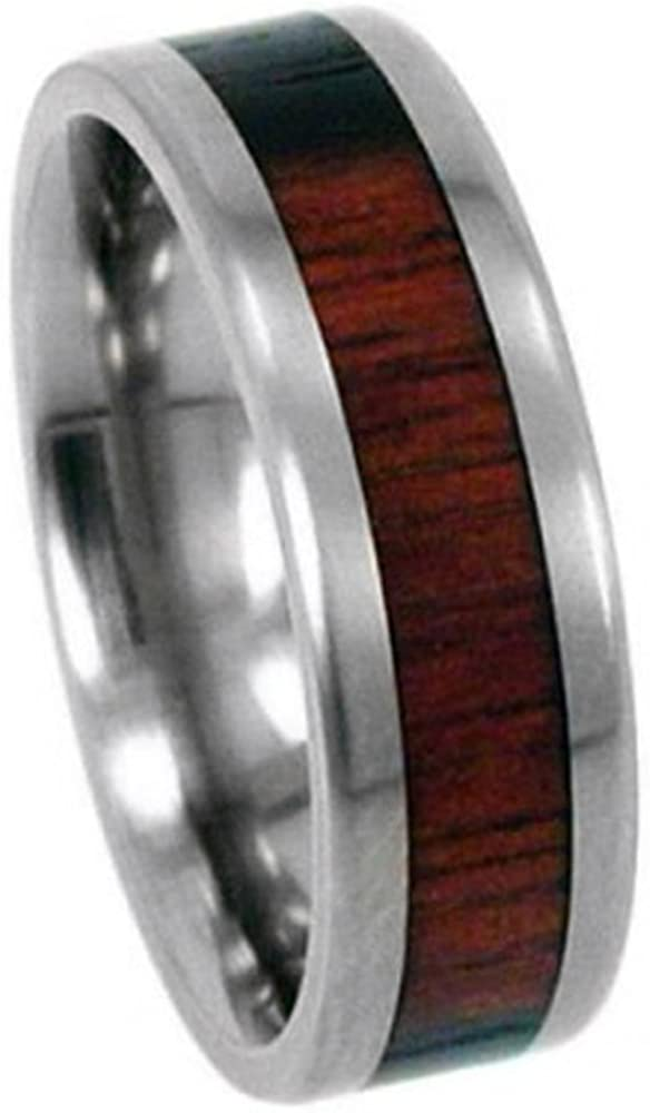 The Men's Jewelry Store (Unisex Jewelry) Macassar Ebony Wood Inlay 8mm Comfort Fit Titanium Wedding Band, Size 4