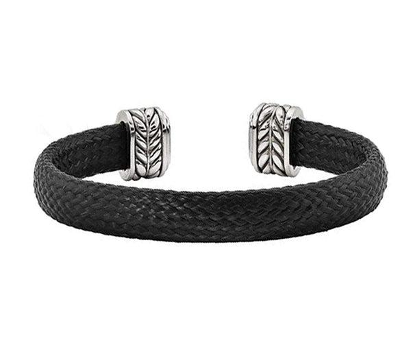 Men's Carbon Fiber Collection Black Chevron Carbon Fiber, Stainless Steel 10.5mm Cuff Bangle Bracelet