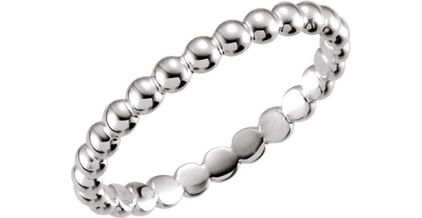 The Men's Jewelry Store (for HER) Platinum Granulated Bead 2.5mm Stackable Band