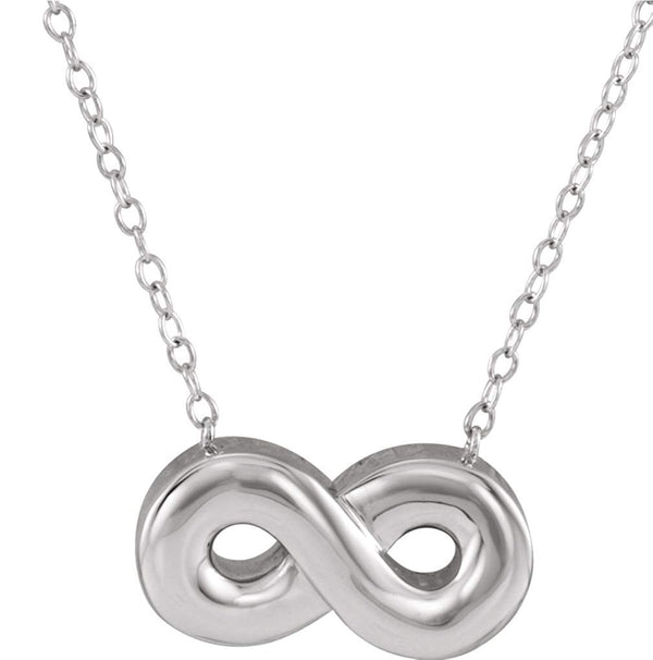 Infinity Ash Holder Necklace, Rhodium Plated Sterling Silver, 18""