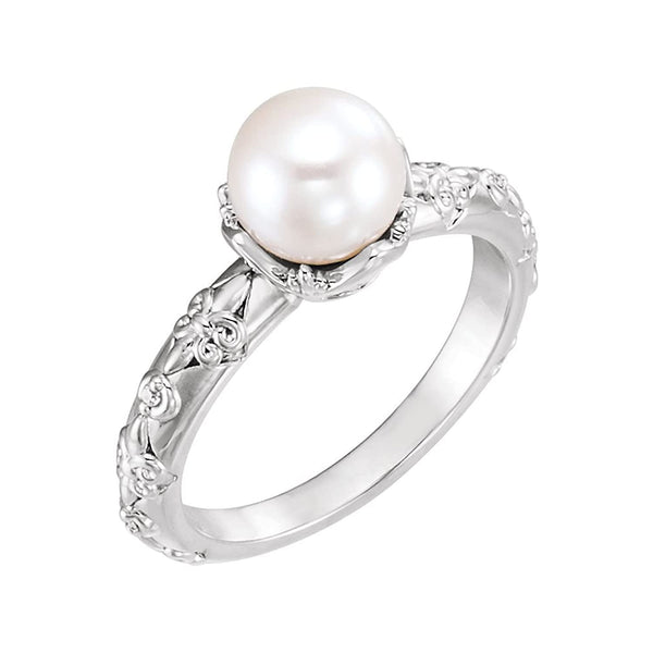 White Freshwater Cultured Pearl, Diamond Vintage Ring, Sterling Silver (7-7.5 mm)(.02 Ctw, G-H Color, I1 Clarity)