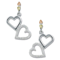 Two-Hearts Drop Earrings, Sterling Silver, 12k Green and Rose Gold Black Hills Gold Motif