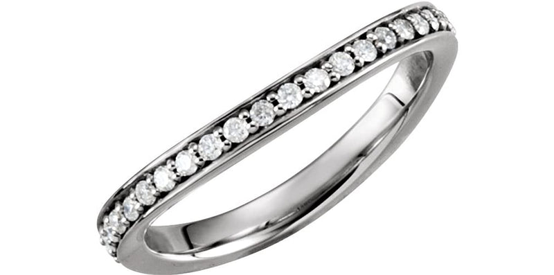 Diamond Stackable Curved Eternity Band, 14k White Gold, Size 7
