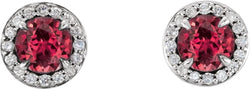 Ruby and Diamond Halo-Style Earrings, 14k White Gold (4MM) (.125 Ctw, G-H Color, I1 Clarity)
