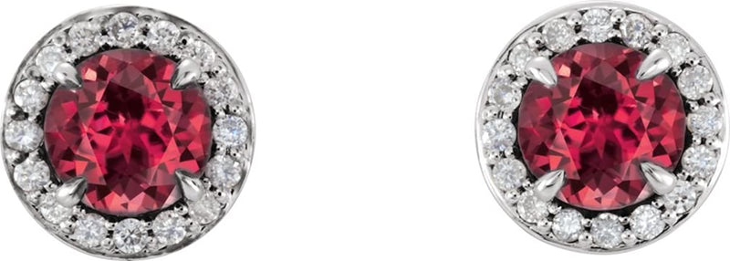 Chatham Created Ruby and Diamond Halo-Style Earrings, 14k White Gold (4MM) (.125 Ctw, G-H Color, I1 Clarity)