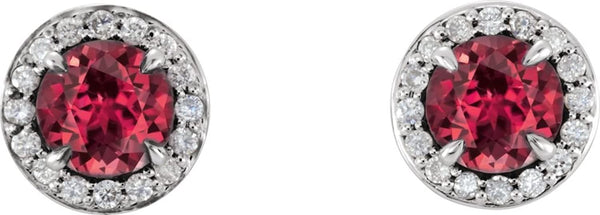 Ruby and Diamond Halo-Style Earrings, 14k White Gold (3.5MM) (.125 Ctw, G-H Color, I1 Clarity)