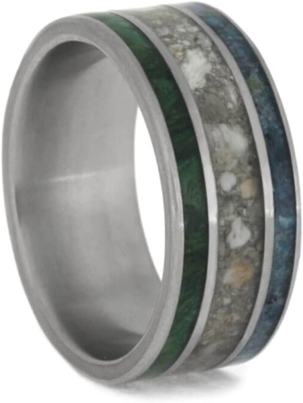 Crushed Turquoise, Pet Ashes, Green Box Burl 8mm Matte Titanium Comfort-Fit Band, Size 9.25