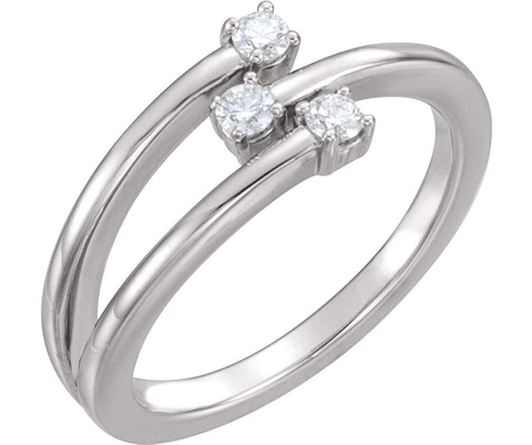 3-Stone Diamond Past, Present, Future Ring, Rhodium-Plated 14k White Gold, Size 7 (.20 Ctw, GH Color, I1 Clarity)
