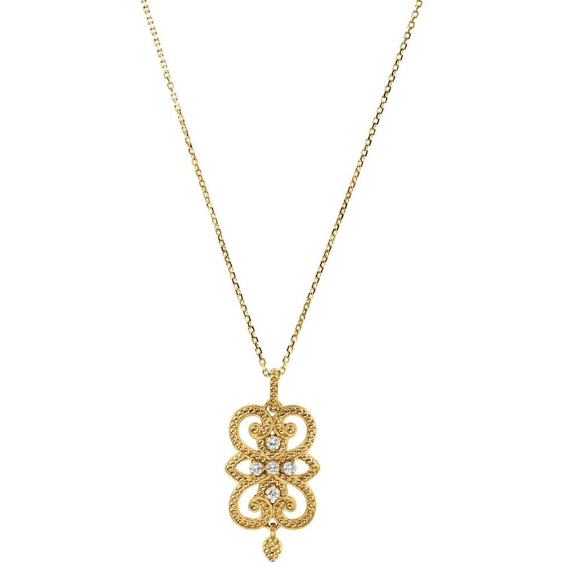 "Diamond Granulated Dangle 14k Yellow Gold Pendant Necklace, 18"" (1/8 Cttw)"