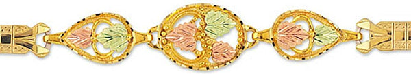 Petite Leaf Expansion Band Bracelet, 10k Yellow Gold, 12k Green and Rose Gold Black Hills Gold Motif, 8""
