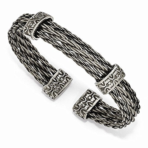 Men's Thorn Collection Gray Titanium Cable Wire with Cast Titanium Accent Cuff Bangle Bracelet, 7""