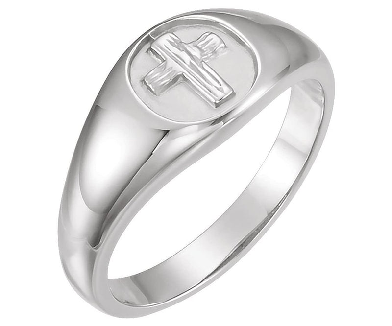 Men's 14k White Gold 10.5mm 'The Rugged Cross' Chastity Ring, Size 10