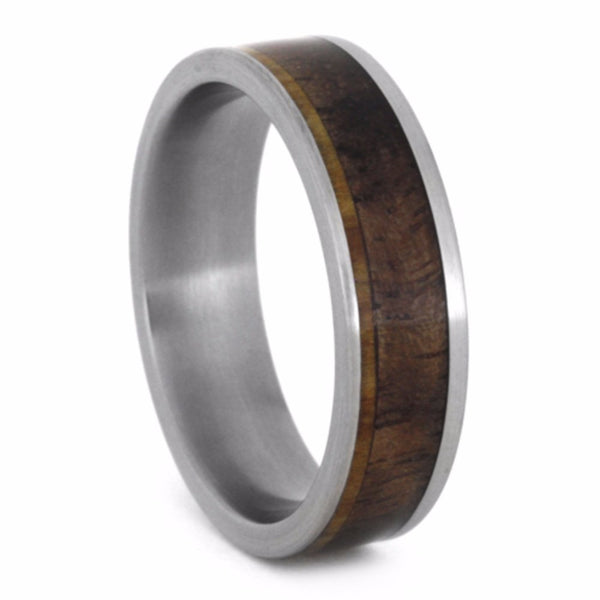 Walnut Wood, Aspen Wood 6mm Comfort-Fit Brushed Titanium Band