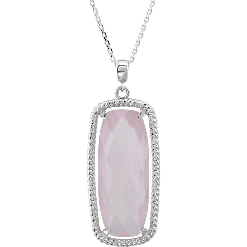 Rose De France Antique Cushion Quartz Sterling Silver Necklace, 18""