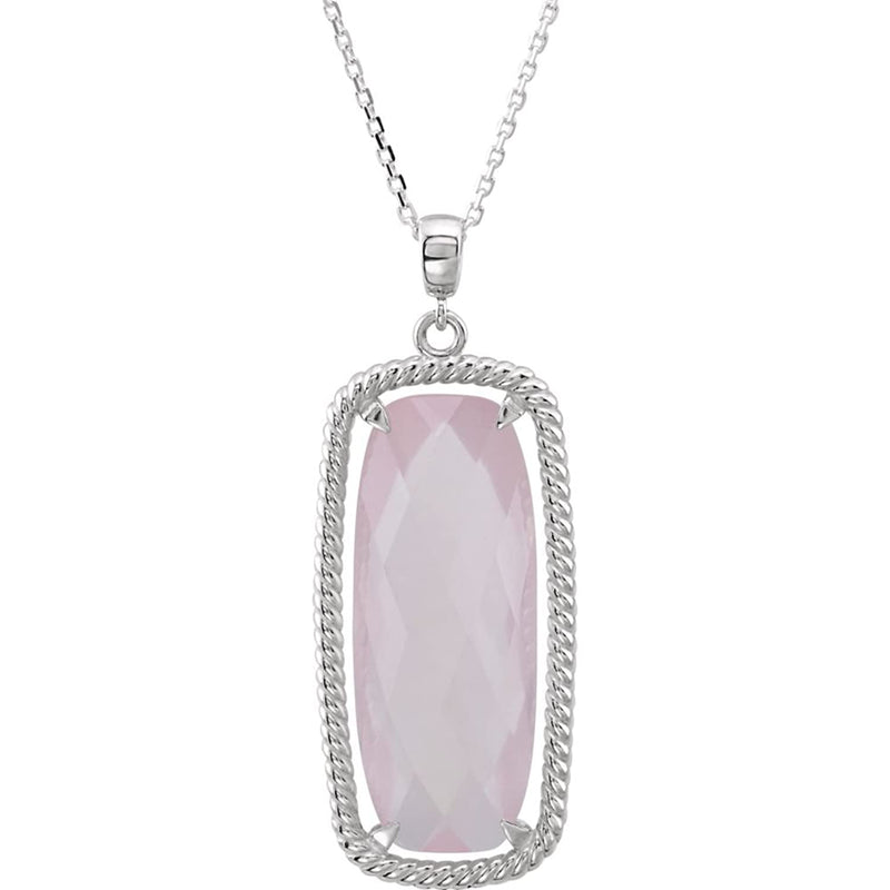 Rose Quartz Antique Cushion Sterling Silver Necklace, 18""