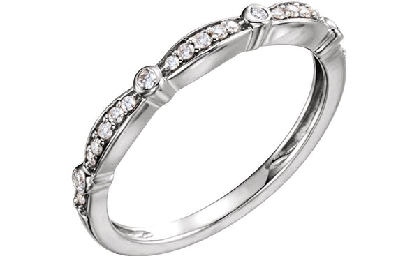 Diamond Stacking Anniversary Band, Rhodium-Plated 14k White Gold (1/8 Cttw, H+ Color, SI Clarity), Size 7