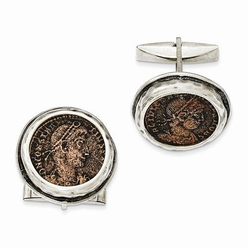 Sterling Silver Antiqued Roman Bronze Coin Cuff Links