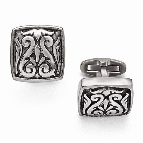 Heritage Collection Casted Grey Titanium Winged Scroll Cuff Links, 20MM