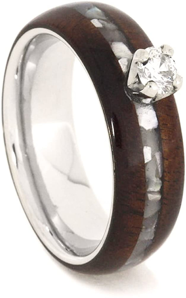 Diamond Solitaire, Mother of Pearl, Honduran Rosewood, Titanium 6.5mm Comfort-Fit Engagement Ring, Size 7.25