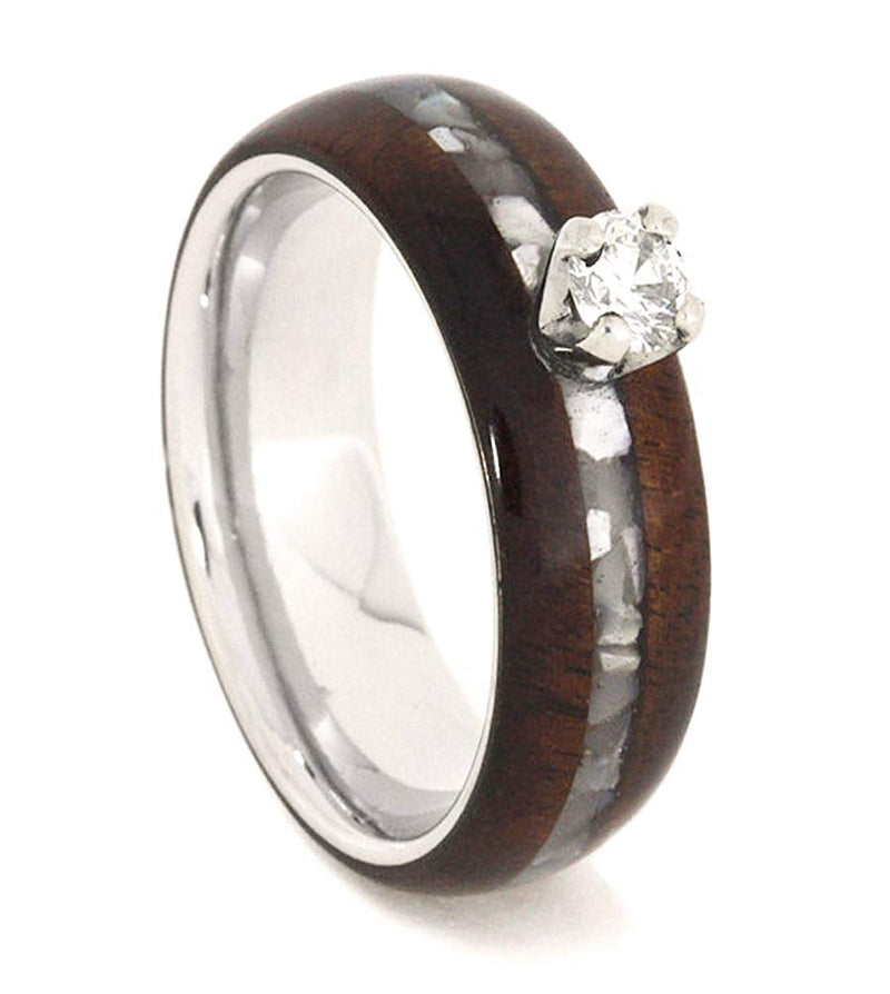 Diamond Solitaire, Mother of Pearl, Honduran Rosewood, Titanium 6.5mm Comfort-Fit Engagement Ring