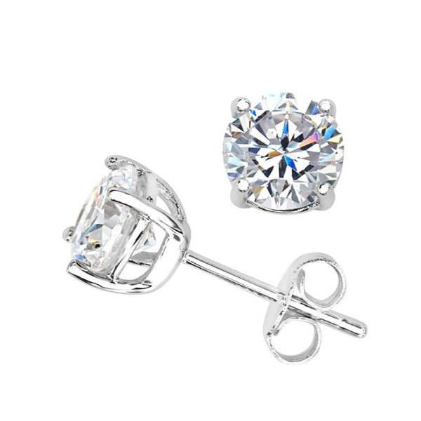 Round CZ Stud Rhodium Plated Sterling Silver Earrings 7.11MM