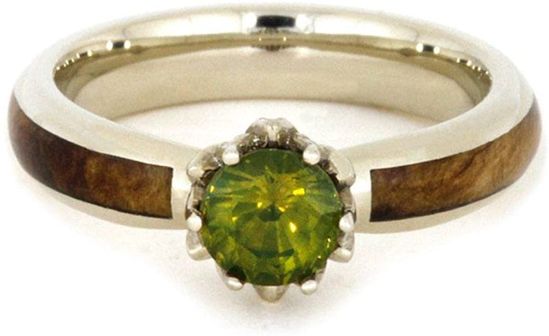 Peridot, Diamond Black Ash Burl 10k White Gold Ring and Gold Box Elder Burl Wood Titanium Band, His and Hers Rings M 13.5-F4