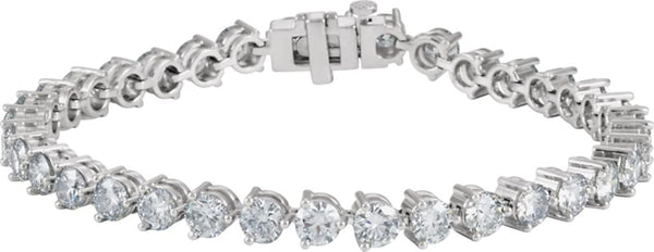 "Rhodium Plated 18k White Gold 36 Stone Diamond Tennis Bracelet, 7.25"" (11.875 Cttw., GH Color, SI1 Clarity)"