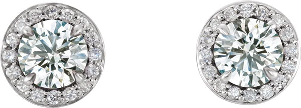 White Sapphire and Diamond Halo-Style Earrings, Rhodium-Plated 14k White Gold (4.5 MM) (.16 Ctw, G-H Color, I1 Clarity)
