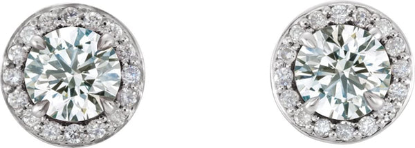 White Sapphire and Diamond Halo-Style Earrings, 14k White Gold (4 MM) (.125 Ctw, G-H Color, I1 Clarity)