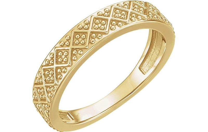 Beaded Design 4.4mm Stacking Band, 14k Yellow Gold