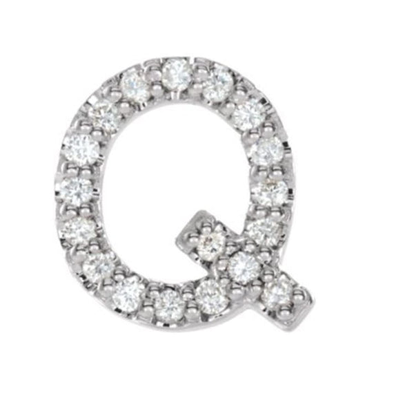 Sterling Silver Diamond Letter 'Q' Initial Stud Earring (Single Earring) (.08 Ctw, GH Color, I1 Clarity)
