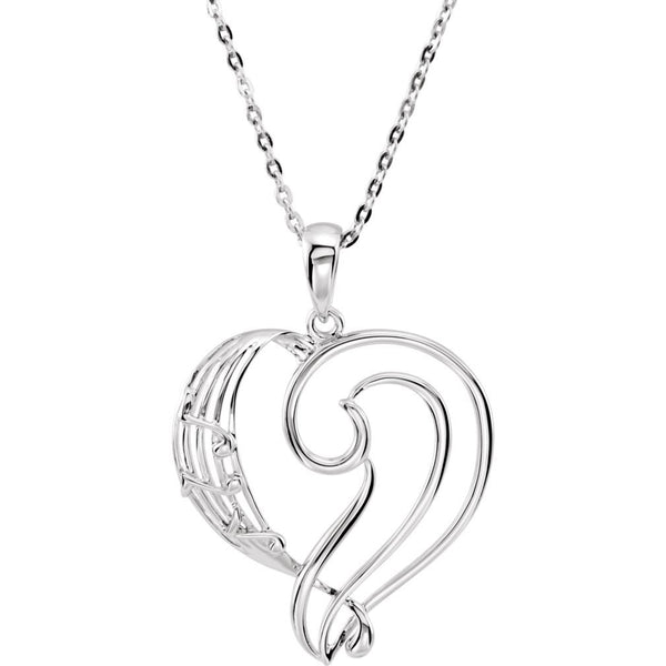 Musical Notes Heart 'A Fine Tuned' Pendant Necklace, Rhodium Plate Sterling Silver, 18""