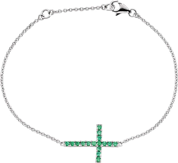 Green CZ Sideways Cross Rhodium-Plated Sterling Silver Bracelet, Adjustable 6-8""