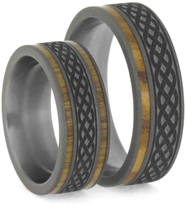 Oak and Olive Wood, Celtic Knot Engraving Comfort-Fit Sandblasted Titanium Couples Wedding Band Set Size, M14-F7.5