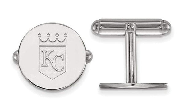 Rhodium-Plated Sterling Silver MLB Kansas City Royals Cuff Links, 15MM