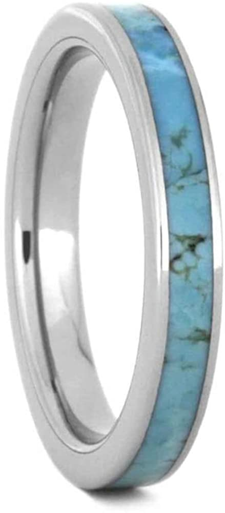 The Men's Jewelry Store (Unisex Jewelry) Turquoise 3mm Titanium Comfort-Fit Wedding Band, Size 13