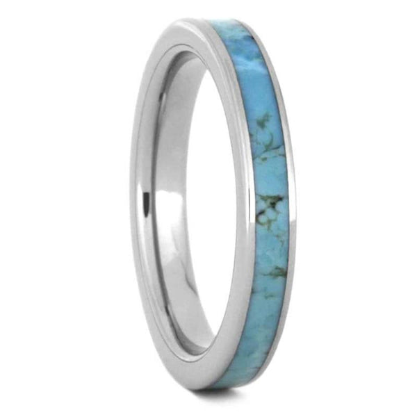 The Men's Jewelry Store (Unisex Jewelry) Turquoise 3mm Titanium Comfort-Fit Wedding Band