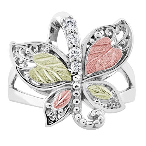 Graduated CZ with Scrollwork Butterfly Ring, Sterling Silver, 12k Green and Rose Gold Black Hills Gold Motif, Size 7.5