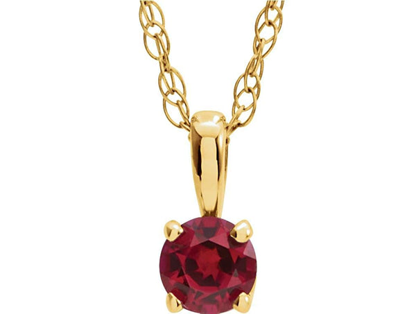 Children's Imitation Ruby 'July' Birthstone 14k Yellow Gold Pendant Necklace, 14""