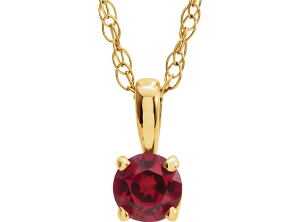 Children's Chatham Created Ruby 'July' Birthstone 14k Yellow Gold Pendant Necklace, 14""