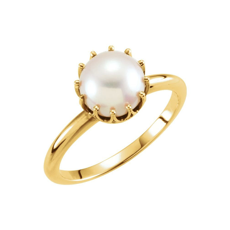 White Freshwater Cultured Pearl Crown Ring, 14k Yellow Gold (7.00-7.50mm)