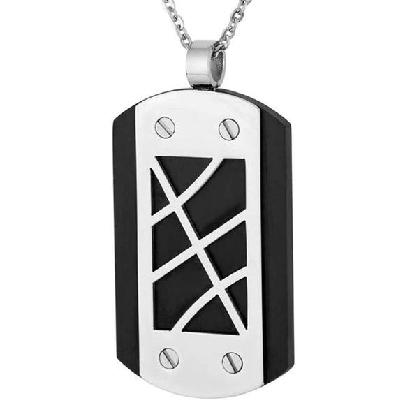 Men's Two-Tone Black-Plated Dog Tag Pendant Necklace, Stainless Steel, 24""