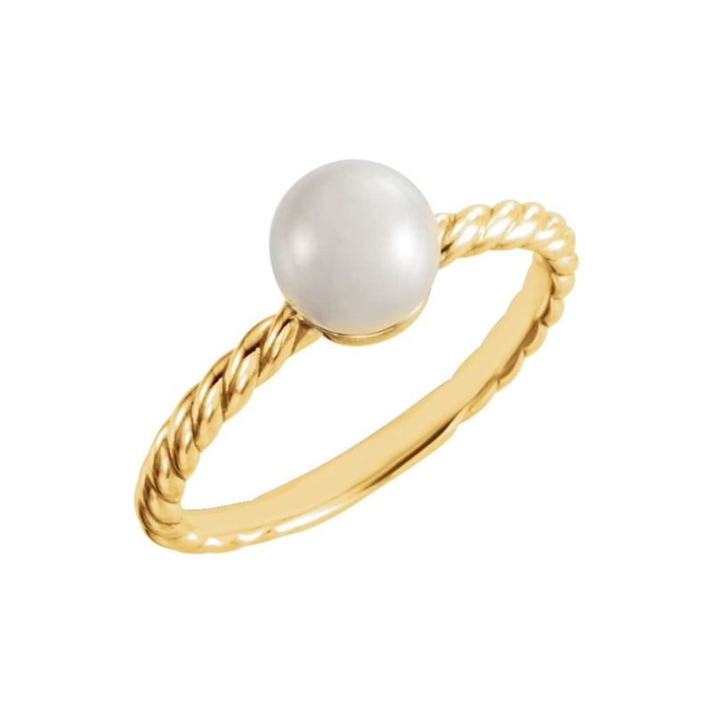 White Freshwater Cultured Pearl Rope-Trim Ring, 14k Yellow Gold (6.50-7.00mm)
