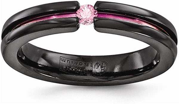 Radiance Collection Black Titanium Pink Sapphire Anodized Grooved 4mm Band, Size 9