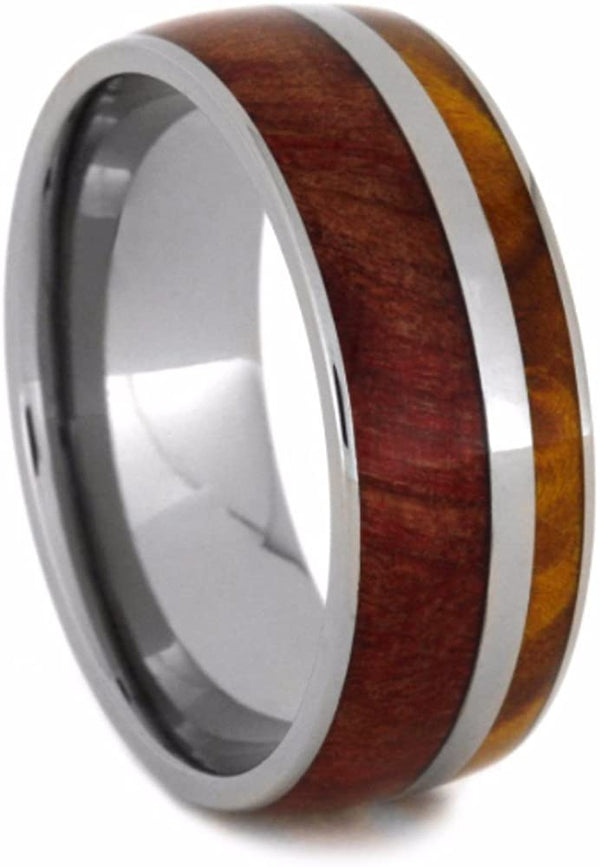 Gold Box Elder Burl, Ruby Redwood 9mm Comfort-Fit Titanium Wedding Band, Size 10.5