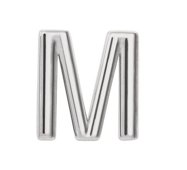 Platinum Initial Letter 'M' Stud Earring (Single Earring)