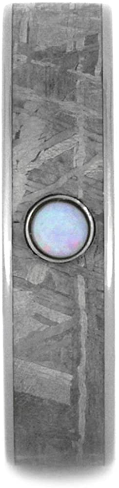 Opal Cabochon, Gibeon Meteorite 5mm Comfort-Fit Titanium Wedding Band, Size 13.75