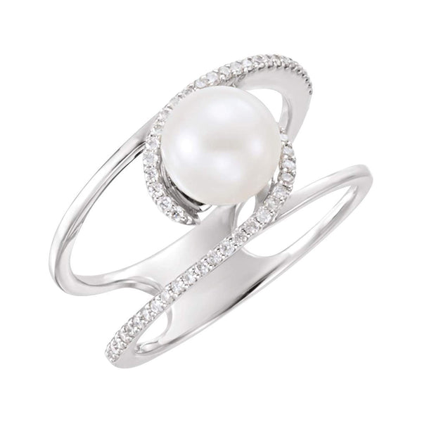 Platinum White Freshwater Cultured Pearl, Diamond Negative Space Ring (7.5-8.00)(.125Ctw, G-H Color, SI2-SI3 Clarity) Size 7