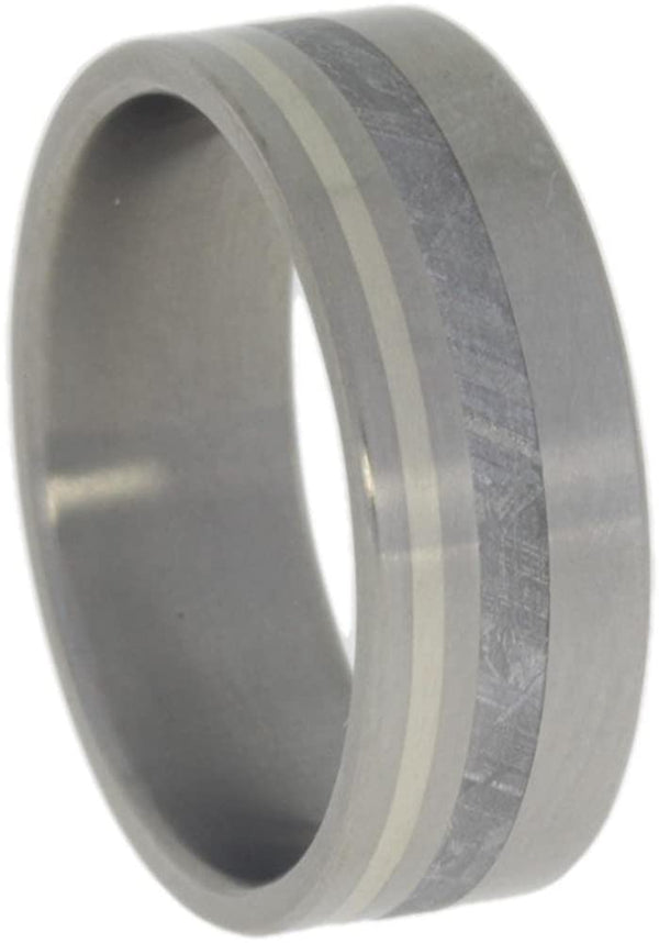 Gibeon Meteorite, 14k White Gold 8mm Comfort Fit Matte Titanium Band, Size 10