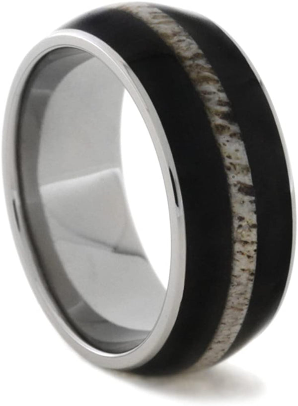 African Blackwood and Deer Antler 9mm Comfort-Fit Titanium Ring, Size 7.5